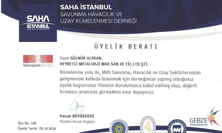 Saha İstanbul – Savunma Havacılık Ve Uzay Kümelenmesi Derneği'ne  üyeliğimiz kabul oldu.